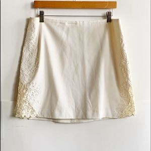 Cream Cache Embroidered Skirt Size 12
